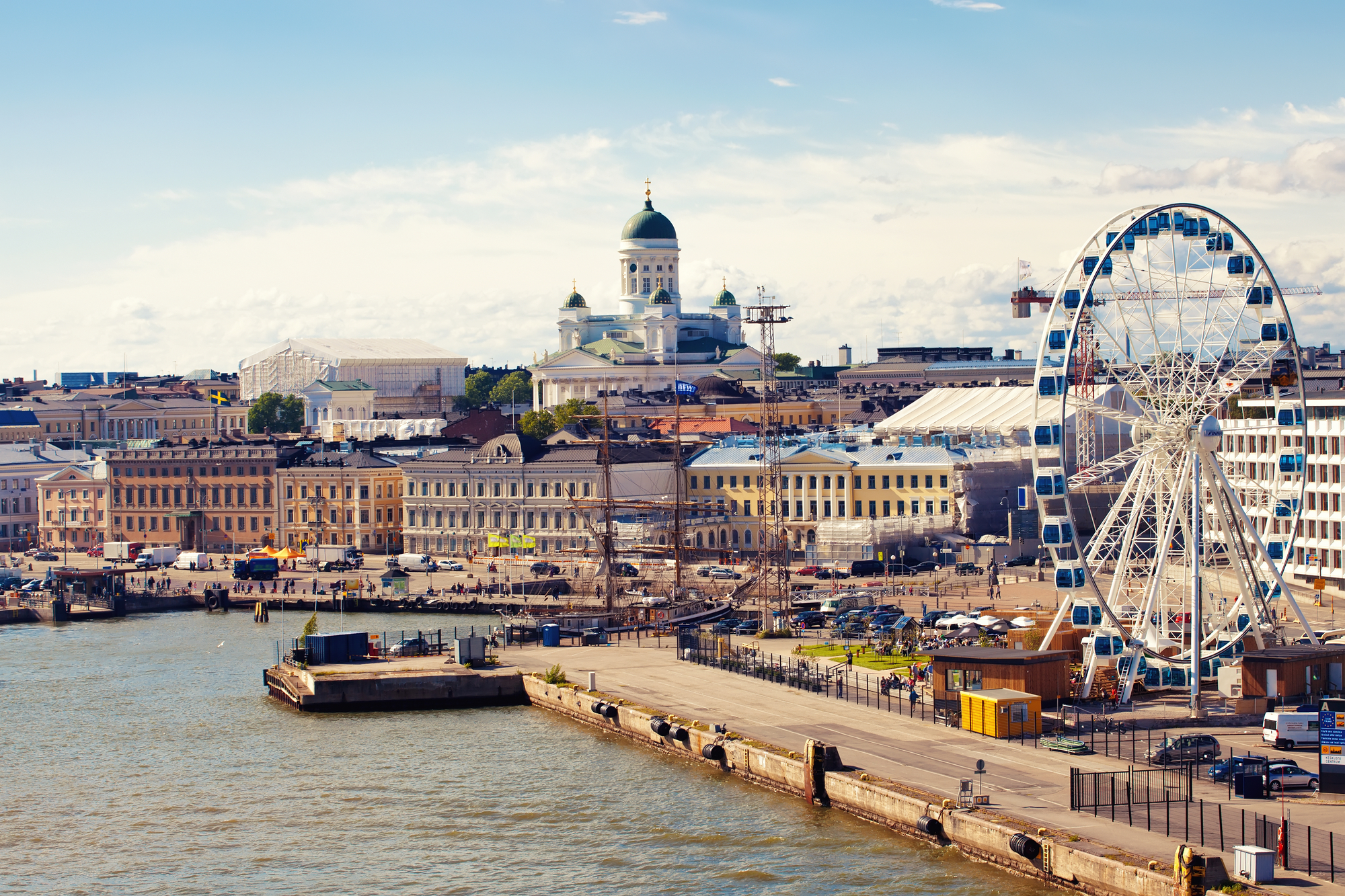 Sunny Helsinki with the view of cathedral, ferris wheel, serviced apartments to rent