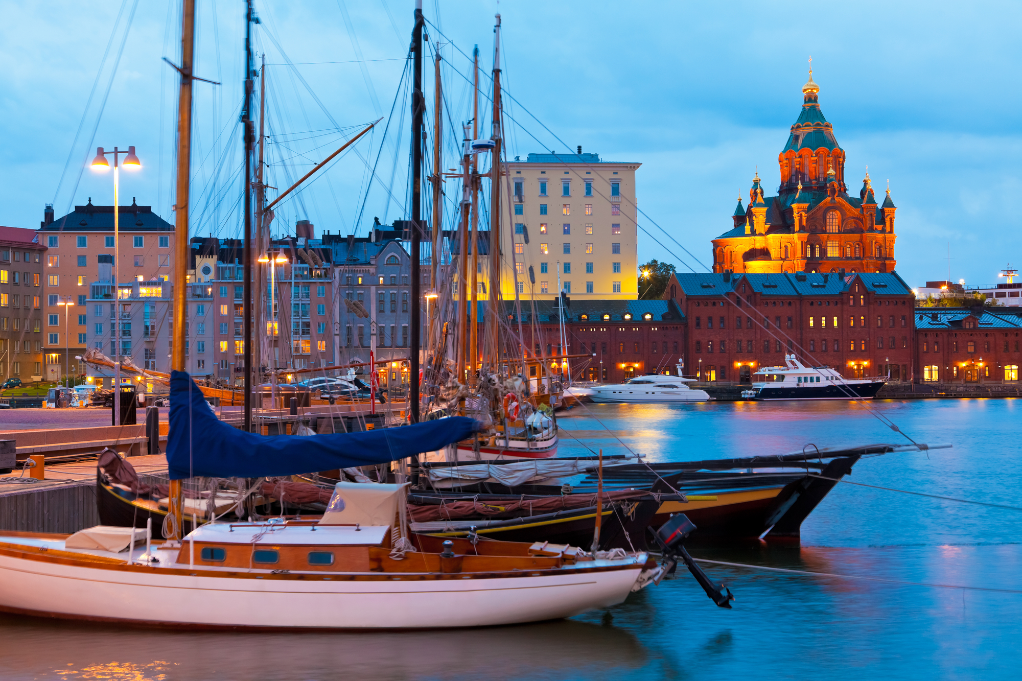 Serviced apartments in Helsinki, city of boats water and snow