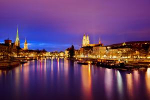 Zurich by night, travelling to Zurich